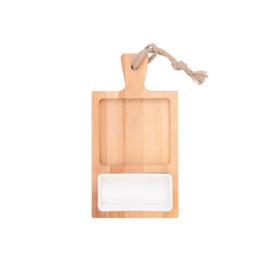 Bükkfa tálaló 35 cm-es 2 rekeszes 1 tállal 15 cm-es fehér