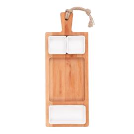 Bükkfa tálaló 49 cm-es 3 rekeszes edények 2x7cm és 1x15cm fehér