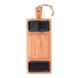 Bükkfa tálaló 49 cm-es 3 rekeszes edények 2x7cm és 1x15cm fekete