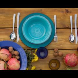 Villa D'Este Home Tivoli türkiz 18 db-os tányér készlet