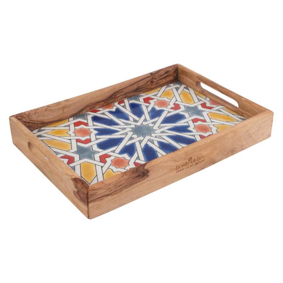 Olajfa mozaik tálca sárga  22x32cm