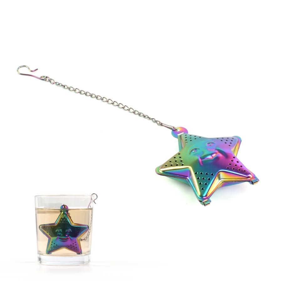 Tealabda mosolygós csillag formába öntve színes titán bevonatú ( teafilter )